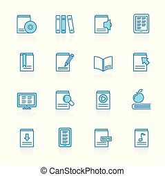 blauwe , iconen, boek, bibliotheek, achtergrond, lijn, opleiding