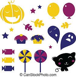blauwe , &, ), (, iconen, halloween, vrijstaand, gele, retro, witte