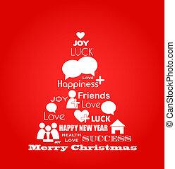 blauwe , iconen, media, boompje, christmas;, wensen, sociaal, vogel