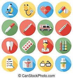 blauwe , iconen, medisch, gele, vector, digitale , rood