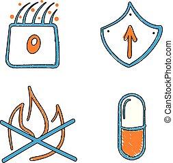 blauwe , iconen, medisch, hand, vector, sinaasappel, ...