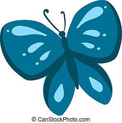 blauwe , illustratie, achtergrond., vector, witte , vlinder
