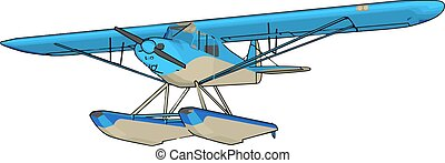 blauwe , illustratie, witte , vector, achtergrond., seaplane