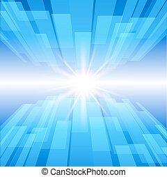 blauwe , illustration., abstract, star., vector, achtergrond, technologie, gloed