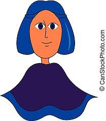 blauwe , illustration., kleur, vector, haar, of