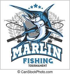 blauwe , illustration., marlin, vector, visserij, logo