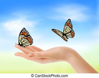 blauwe , illustration., sky., tegen, hand, vlinder, vector,...
