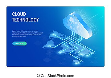 blauwe , informatie, isometric, illustration., web, editable, concept., map., bouwterrein, world., vector, wereld, verdeling, technologie, template., wolk, ongeveer