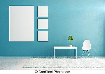 blauwe , interieur, met, lege, buitenreclame