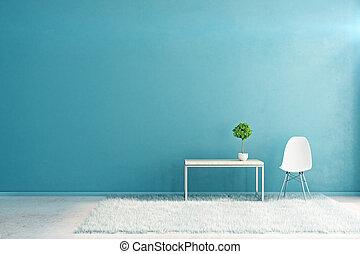 blauwe , interieur, met, lege, muur