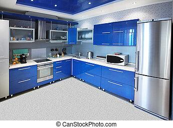 blauwe , interieur, moderne, tonen, keuken
