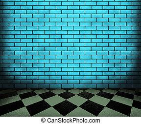 blauwe , interieur, schaakbord, achtergrond