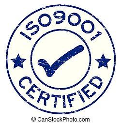 blauwe , iso9001, grunge, postzegel, rubber, achtergrond, zeehondje, witte , ronde, verklaard