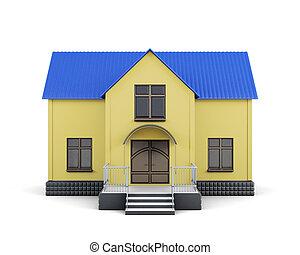 blauwe , isolated., woning, gele, vertolking, dak, 3d