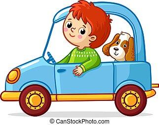 blauwe , jongen, auto., dog, paardrijden