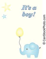 blauwe , jongen, balloon, vector, vasthouden, elefant, zijn, kaart