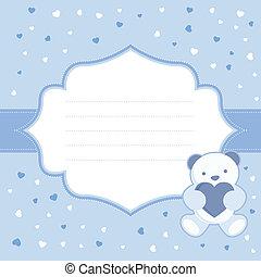 blauwe , kaart, groet, beer, teddy