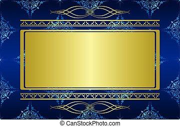 blauwe , kaart, met, gouden, decoraties