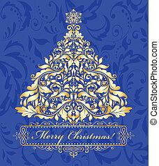 blauwe , kaart, met, gouden, kerstboom