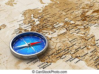 blauwe , kaart, oud, metaal, kompas, wereld