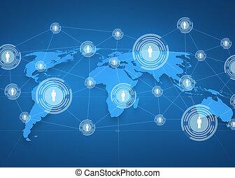 blauwe , kaart, projectie, op, achtergrond, wereld