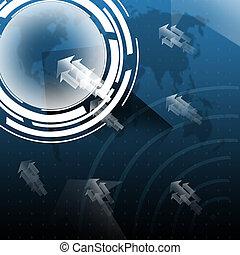 blauwe , kaart, scherm, achtergrond, wereld, technologie