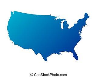 blauwe , kaart, staten, verenigd