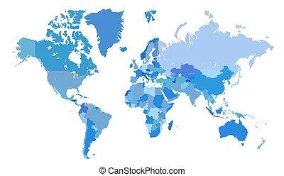 blauwe , kaart, wereld