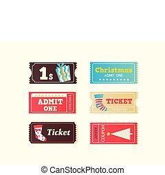 blauwe , kaartjes, bioscoop, retro, kerstmis, rood