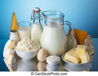 blauwe kaas, melk, room, producten, boter, leven, yoghurt, zuur, melkinrichting, ei, achtergrond, huisje, nog, kaas
