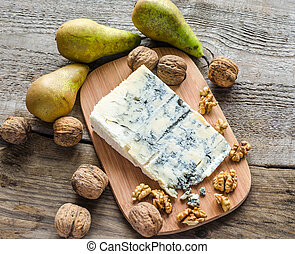 blauwe kaas, peren, walnoten