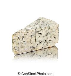 blauwe kaas, vrijstaand, op wit, met, reflectie