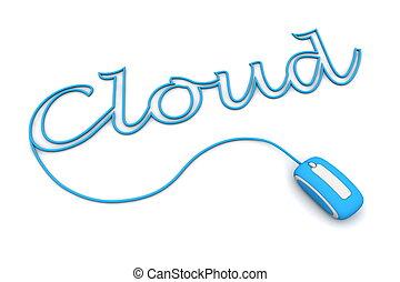 blauwe , kabel, cableed, bladeren, licht, muis, wolk