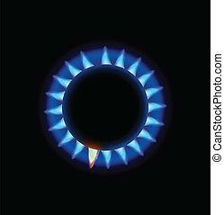 blauwe , kachels, vlam, burning