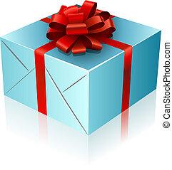 blauwe , kado, doosje, met, rood lint, en, bow.