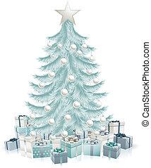 blauwe , kadootjes, boompje, kerstmis, zilver