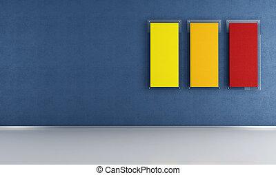 blauwe , kamer, lege