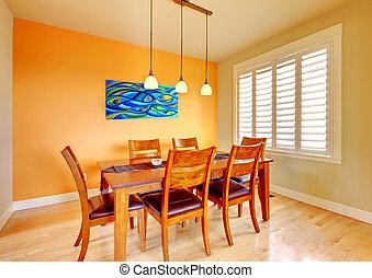 blauwe , kamer, schilderij, het dineren, hout, tafel.