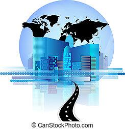 blauwe , kantoor, globe, skyline, wereld, straat