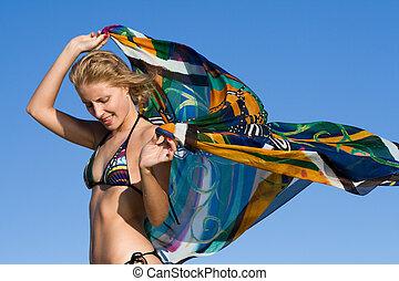 blauwe , kerchief, vrouw dansen, hemel, jonge, tegen, blonde