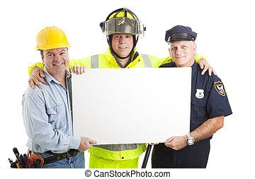 blauwe , kerels, kraag, meldingsbord