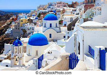 blauwe , kerken, santorini, koepel, oia