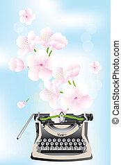 blauwe , kers, -, creativiteit, bloesems, lente, typemachine, hemel