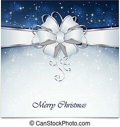 blauwe , kerstmis, achtergrond, boog