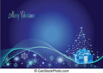blauwe , kerstmis, achtergrond, boompje