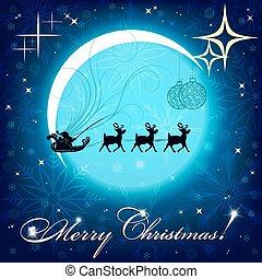 blauwe , kerstmis, achtergrond, met, maan, en, santa claus, op, rendier