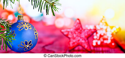 blauwe , kerstmis bal, met, kerstmis, takje, en, ster