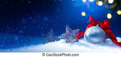 blauwe , kerstmis, begroetende kaart, achtergrond, of, seizoen, feestdagen, spandoek