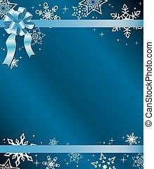 blauwe , kerstmis kaart, met, lint