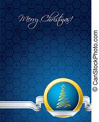 blauwe , kerstmis kaart, met, wit lint